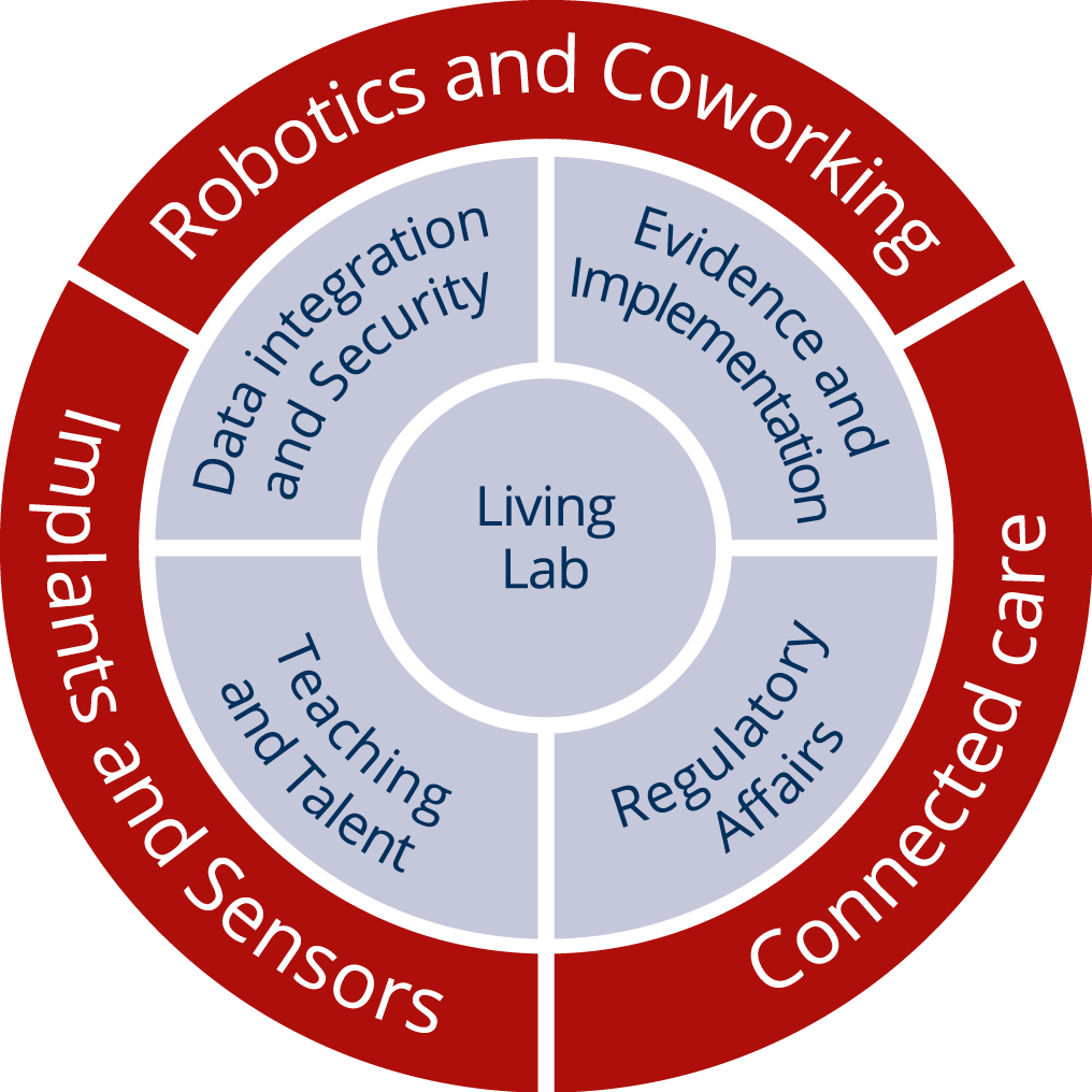 Illustration of relation of the virtual application rooms, core rooms (inner circle) and the living lab of the EKFZ